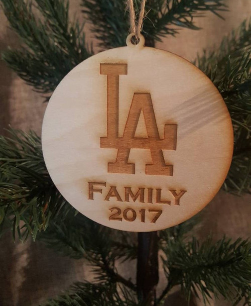 LA Dodger Inspired Christmas Ornament Wood Gift for Him or Her Fan Fanatic