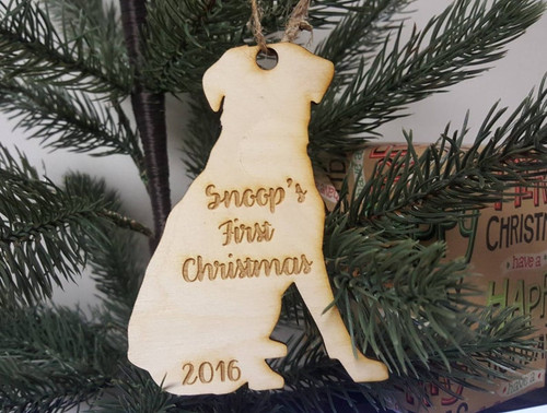 Personalized Christmas Tree Dog Ornament Name and Year First Family Christmas Dog Lover Fur Baby Mom