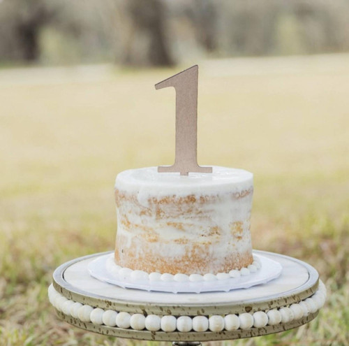 1 Cake Topper First Birthday Cake Topper Natural Raw Wood - Cake Smash First Birthday Photo Prop Candle Replacement