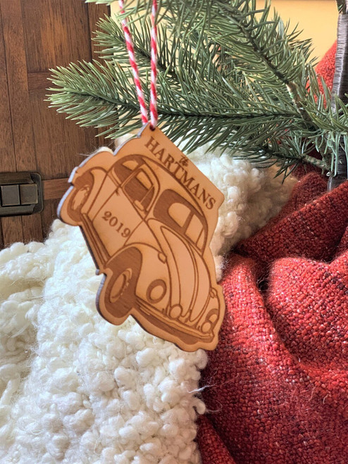 Personalized VW Beetle Classic Car Christmas Ornament