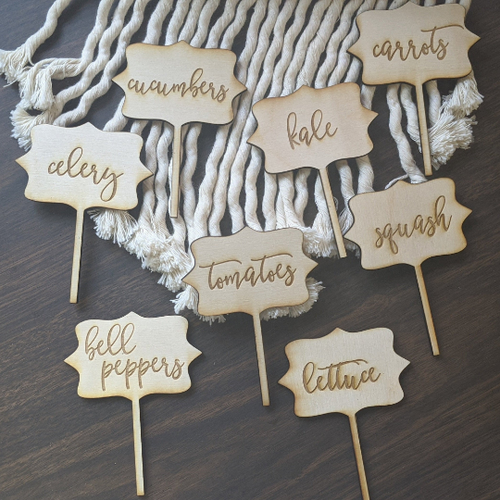 Custom Set Herb or Vegetable Wooden Garden Picks | Garden Stakes | Herb Garden | Garden Labels | Garden Markers