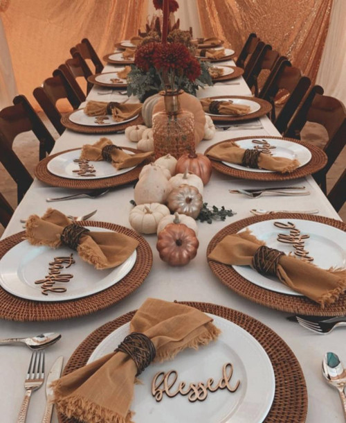 Thankful | Grateful | Blessed Wood Table Plate Place Signs Just in Time for the Holidays! Great Thanksgiving of Christmas Table Addition