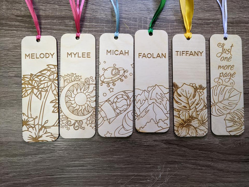 Laser Engraved Wood Bookmark - Floral - Beachy - Space - Mountains - Hawaiian - Plant Lover Bookmarks