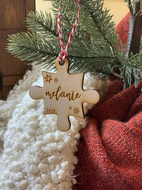 Personalized Puzzle Piece with Custom Name Christmas Ornament Keepsake