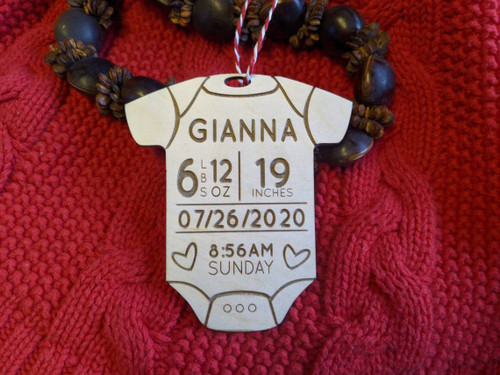 Personalized Baby's First Christmas Onesie with Baby Stats Info Ornament