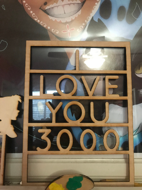 I Love You 3000 Marvel Avengers End Game Wooden Message Board Home Decor Sign