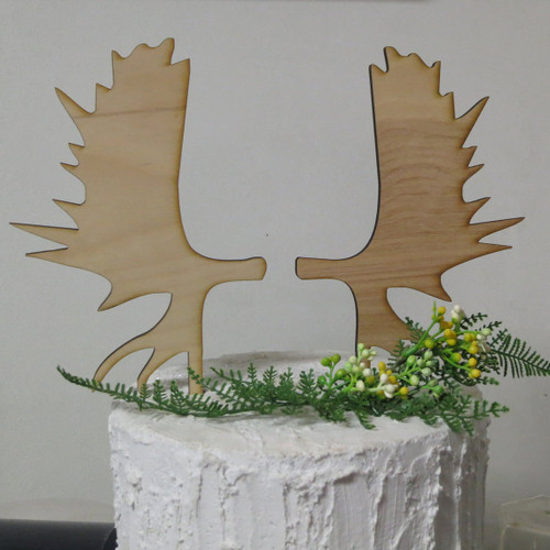 Moose Antler Wedding or Woodland Theme Birthday Cake Topper Rustic Country Outdoor Celebration