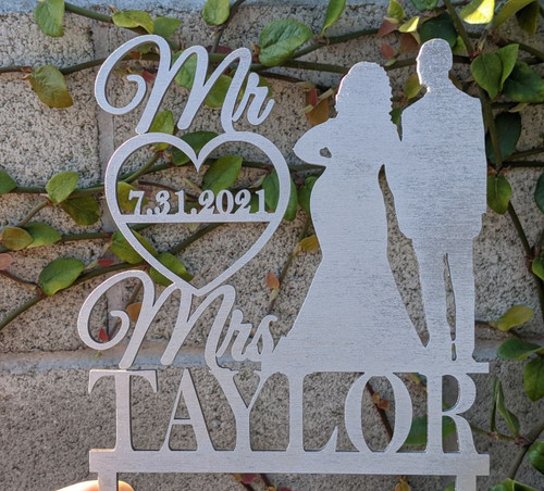 Personalized Mr & Mrs Last Name + Date Wedding Cake Topper