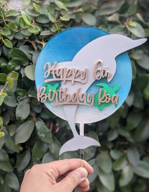 Dolphins with Sea Turtle Acrylic and Wood Multi-Layer with Custom Name and Age Birthday Natural Cake Topper