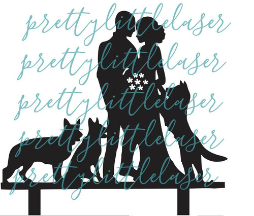 3 Dog or Cat - Pet - Personalized  Mr and Mrs and Custom Dogs Wedding Cake Topper