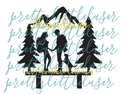 Custom Mr and Mrs 2 Layer Great Outdoors Hiking Adventure Wedding Grooms Bride Natural Raw Wood Adventure Couple Cake Topper - Personalized with Names