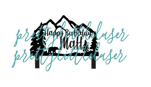 Personalized Outdoors Theme with Name Cake Topper Bear