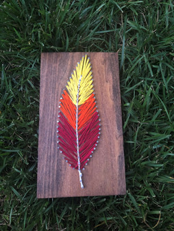 Red Feather String Art