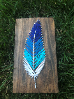 Faded Blue Feather String Art