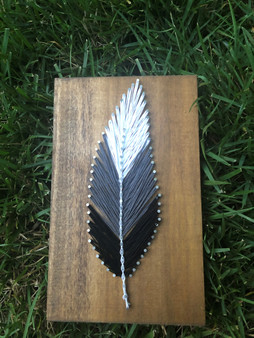 Faded Black Feather String Art