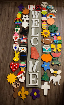 Welcome Sign with Grey Board and White Letters