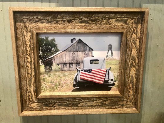 Framed American Flag in Truck Picture