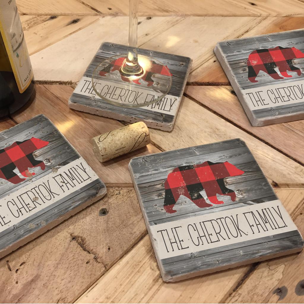 Custom Printed Travertine Tumbled Stone Coasters - Bear (Set of 4)