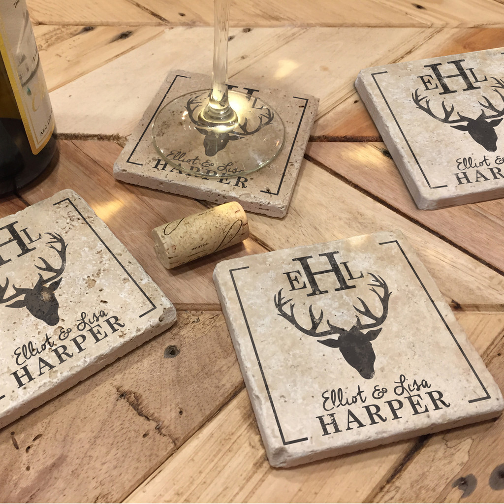 Custom Printed Travertine Tumbled Stone Coasters - Deer Head (Set of 4)