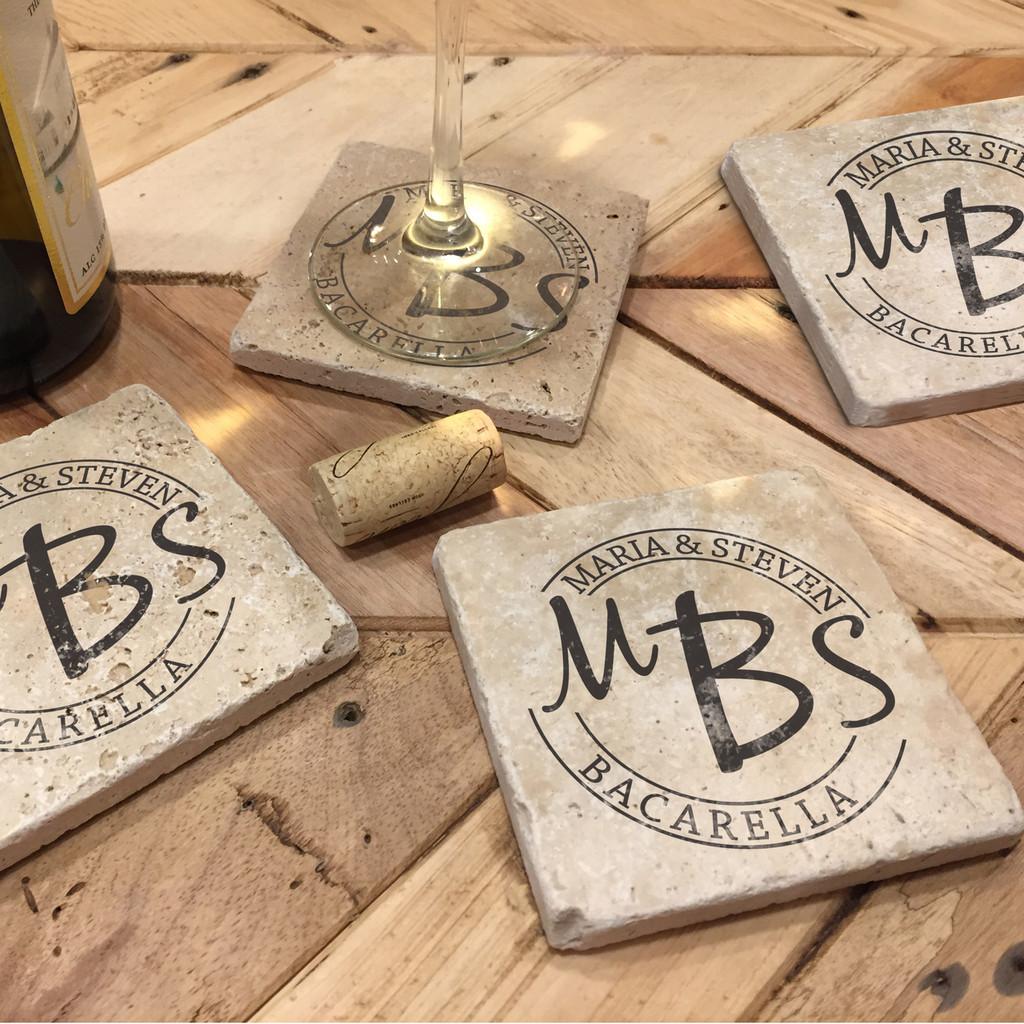 Custom Printed Travertine Tumbled Stone Coasters - Bacarella (Set of 4)