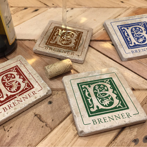 Custom Printed Travertine Tumbled Stone Coasters - Brenner (Set of 4)