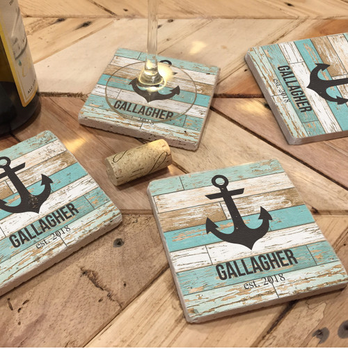 Custom Printed Travertine Tumbled Stone Coasters - Anchor (Set of 4)