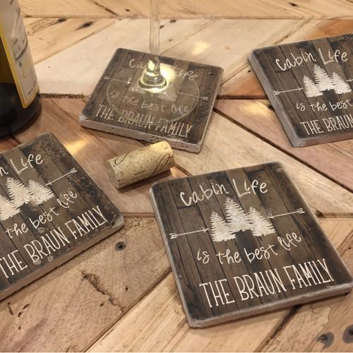 Custom Printed Travertine Tumbled Stone Coasters - Cabin Life (Set of 4)
