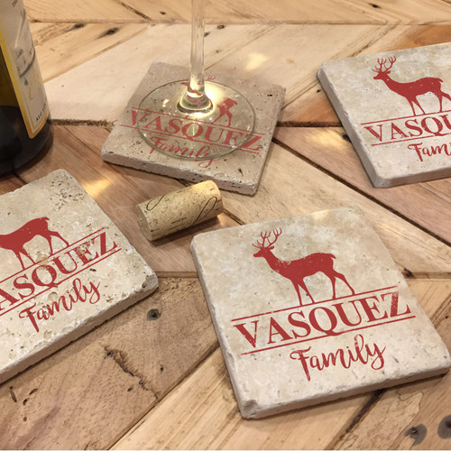 Custom Printed Travertine Tumbled Stone Coasters - Deer (Set of 4)