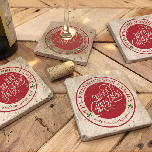 Custom Printed Travertine Tumbled Stone Coasters - Christmas (Set of 4)