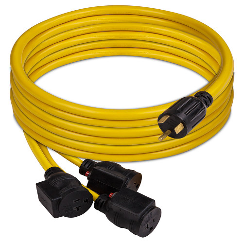 Firman 1101 25ft 30A TT-30P to 3 x 50-20R Power Cord with Storage Strap