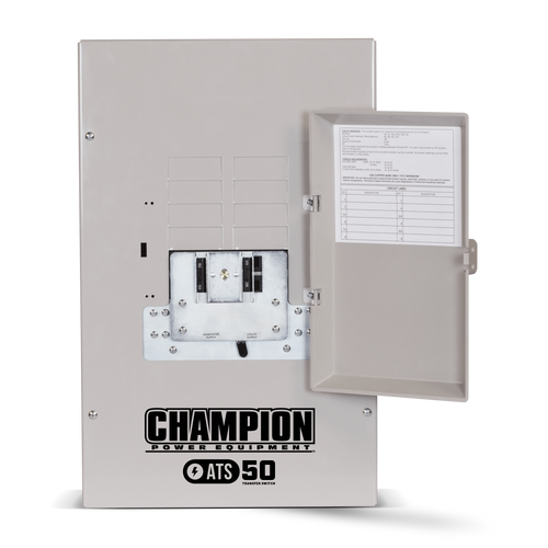 Champion 100947 50A 1ph-120/240V Nema 1 Automatic Transfer Switch with 8-circuit Load Center