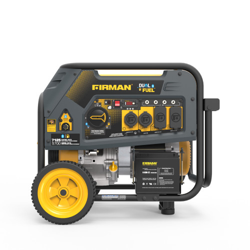 Firman H05751 5700W Electric Start Dual Fuel Portable Generator with Wheel Kit
