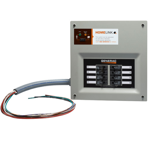 Generac HomeLink 6854 30A 6-8 Circuit Nema 1 Upgradeable Manual Transfer Switch with Aluminum Plug-in Box, Conduit & 30A Plug