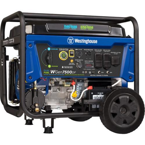 Westinghouse WGen7500DF 7500W Dual Fuel Electric Start Portable Generator with Wireless Remote Start