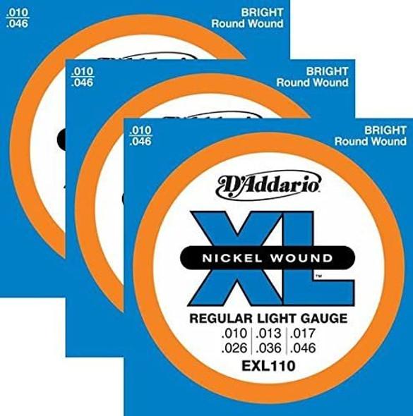 3 Sets - D'Addario EXL110 Nickel Wound Electric Guitar Strings, Light Gauge