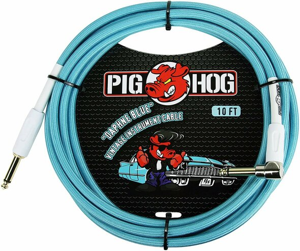 "Pig Hog PCH10DBR 1/4"" to 1/4"" Right-Angle Daphne Blue Guitar Instrument Cable"