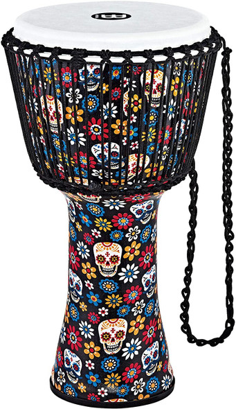 """Meinl Percussion Djembe (All Weather) with Synthetic Shell and Head, Travel Series — NOT MADE IN CHINA — 12"""" Large Size Rope Tuned, Day of the Dead Finish, 2-YEAR WARRANTY (PADJ7-L-F)"""