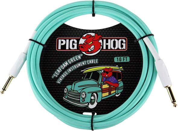 "Pig Hog PCH10SG 1/4"" to 1/4"" Seafoam Green Guitar Instrument Cable"