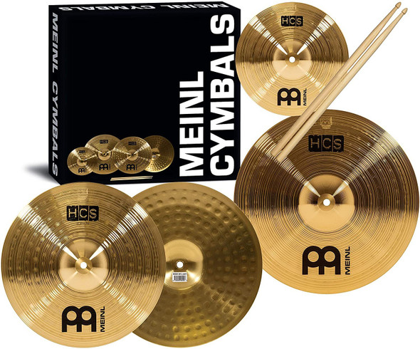 """Meinl Cymbal Set Box Pack with 13"""" Hihats, 14"""" Crash, Plus Free 10"""" Splash, Sticks, and Lessons TWO-YEAR WARRANTY"""