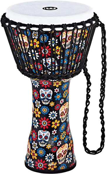 """Meinl Percussion Djembe (All Weather) with Synthetic Shell and Head, Travel Series — NOT MADE IN CHINA — 10"""" Medium Size Rope Tuned, Day of the Dead Finish, 2-YEAR WARRANTY (PADJ7-M-F)"""