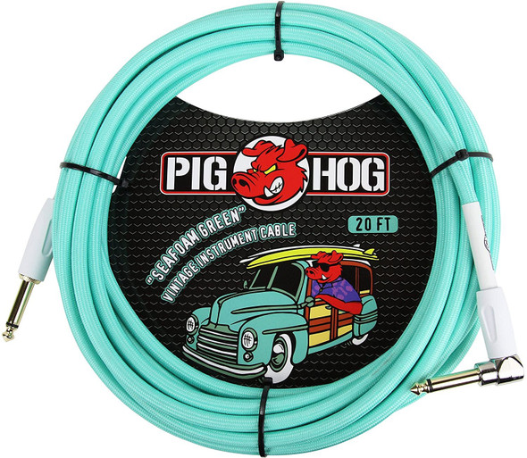 """Pig Hog PCH10SGR 1/4"""" to 1/4"""" Right-Angle Seafoam Green Guitar Instrument Cable"""