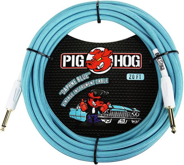 "Pig Hog PCH10DB 1/4"" to 1/4"" Daphne Blue Guitar Instrument Cable"