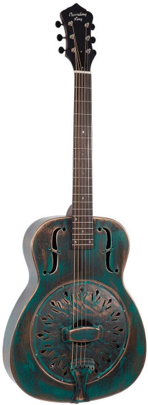 Recording King 6 String Resonator Guitar, Right, Distressed Vintage Green (RM-997-VG)