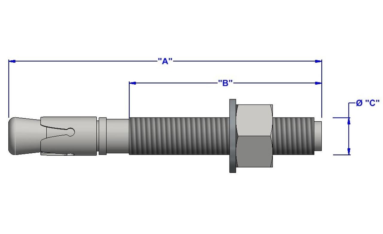 Zinc CR+3 5//16x1 1//2 Sleeve Anchor Hex Nut Size: 5//16 800pcs inch Length: 1-1//2