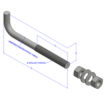"1-1/2""x48"" Bent Anchor Bolt"