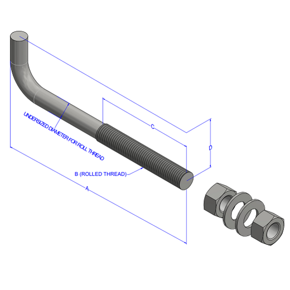 "1""x36"" Bent Anchor Bolt"