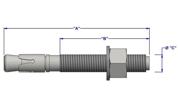 "3/4""x5-1/2"" Zinc Wedge Anchor (20 pack)"