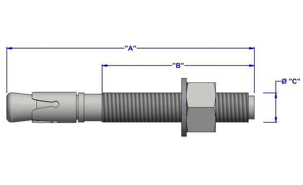 "3/4""x6-1/4"" Zinc Wedge Anchor (20 pack)"