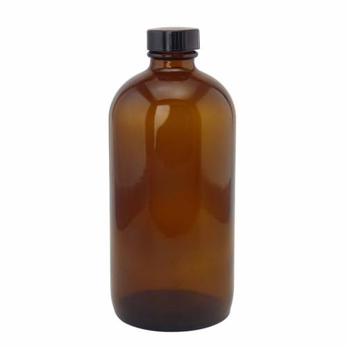 16oz glass amber bottle