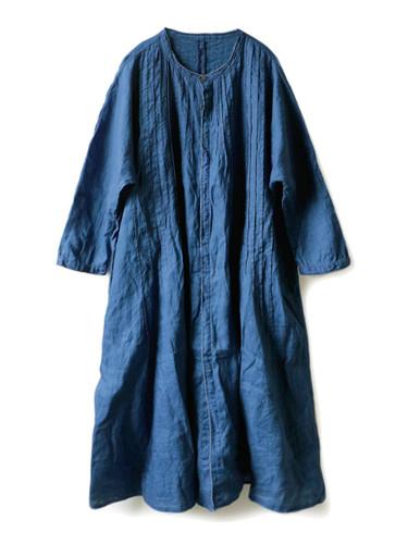 Picture No.1 of KAPITAL French Cross Linen Pin-tuck Okiefe Dress K1502OP187EK-435EK-909